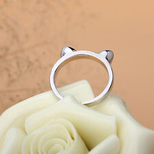 Women Lovely Fashion Cat Adjustable Silver Plated Ring Anel Gifts