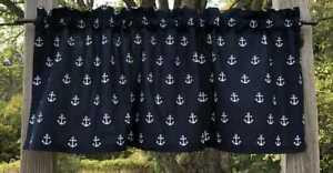 Nautical White Boat Anchors on Navy Blue Coastal Beach Sea Decor Curtain Valance
