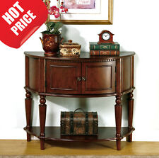 NEW Antique Style Half Moon Foyer Table Console Wood Accent Hall Round Furniture