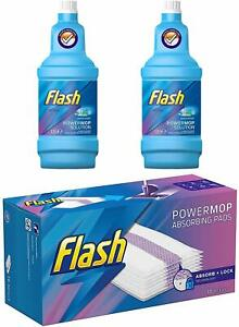 Flash Power Mop Refill 2 X Fresh Scent Bottle 1.25L & 16 Pads PowerMop Package