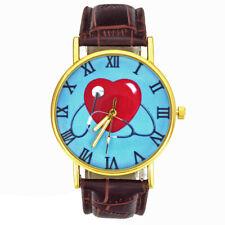 Mens Women Watch Stethoscope Heart Charm Patent Leather Wristwatch Novelty Watch