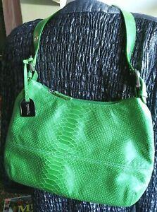 TIGNANELLO Green SNAKESKIN HOBO BAG Shoulder Purse Medium