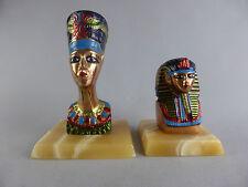 PAIRE DE BUSTES EGYPTE CLEOPATRE ET TOUTANKHAMON EN CUIVRE ROUGE PEINT pyramide