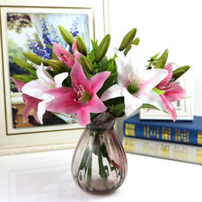 3 Heads Artificial Flower Bouquet Lily  Fake Flower  Bridal Wedding Supply Home