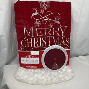 """Merry Christmas Tree Skirt 48"""" Red Velvet & White Faux Fur Silver Reindeer Snow"""