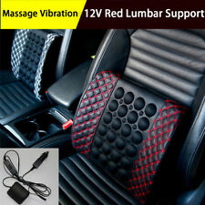 Car Seat Back Lumbar Support Massage Shaking Cushion Rest Pillow 12V Black & Red