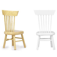 1/12 Dollhouse Miniature Dining Furniture Wooden Chair White P1X1 H2O5