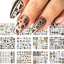 12 Sheets Leopard Print Nail Stickers Foil Nail Art Supplies Water Transfer