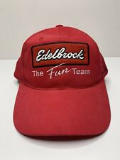 """Vintage Edelbrock """"The Fun Team"""" Red Racing Hat Cap Snapback Embroidered Patch"""