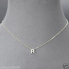 Silver Finish Accent Initial R Cubic Zirconia Rhinestone Pendant Dainty Necklace
