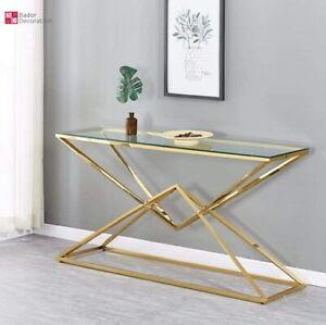 Designer Konsolentisch Edelstahl Schminktisch Glas Hochglanz Flurtisch Gold