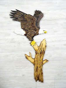 NEW! Hand Carved BALD EAGLE ready to FLY Wall Art Chainsaw Wood Carving