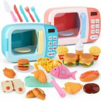 Mini Plastic Food Kids Kitchen Toys Simulation Microwave Oven Educational Play