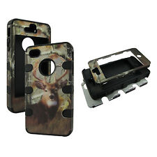 Hybrid Shock Proof Blk Strip Camo Deer RT Case for Apple Iphone 4 4S  Cover