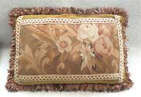 """VTG Woven Aubusson Floral Pillow French Decor Wool Tapestry  23""""x15"""" Velvet Back"""
