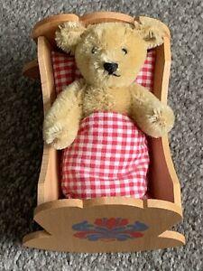 """STEIFF 1984 Giengen 4"""" Teddy BEAR In Cradle 0162/00 Fully Jtd Was Part Set LOOK"""