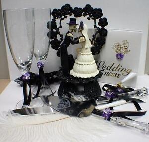 Day of the DEAD Purple Halloween Wedding Cake Topper LOT Glasses Server Skeleton