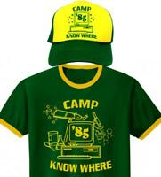 STRANGER THINGS Dustin Henderson Halloween Costume CAMP KNOW WHERE Shirt and Hat