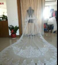 Cathedral Long Wedding Veils 2 Tiers Appliques With Comb Bridal Veil 300 cm
