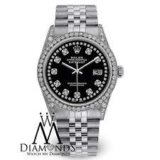 Diamond Rolex Watch - DateJust 36mm- Black Dial- Jubilee Bracelet- 4Ct Diamonds