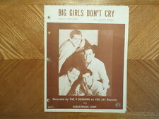 VINTAGE 1962 BOBOB MUSIC/VEE JAY SHEET MUSIC/FOUR SEASONS /BIG GIRLS DON'T CRY