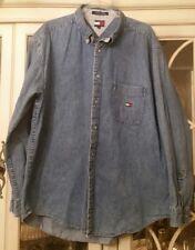VTG 1990s TOMMY HILFIGER Men's Size XL Denim Jean Shirt Button Down Long Sleeve