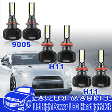 Combo 6pcs 9005+H11+H11 LED Headlight Conversion Kit Total 1200W Hi/Lo+Fog light
