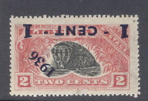 Liberia 1936, 1c overprint on 2c civet, INVERTED overprint NH #248 animal, fauna
