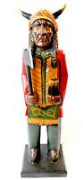 WOODEN CIGAR STORE INDIAN STATUE HORN CHIEF COWBOY WESTERN AMERICAN ART AXE GUN