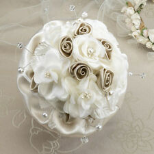 taupe ivory rose bridal bouquet wedding bride