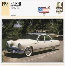1953 KAISER DRAGON Classic Car Photograph / Information Maxi Card