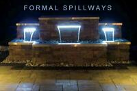 """Atlantic CF36W Crystal White Colorfalls-36"""" Wide Waterfall Spillway w/LED Lights"""