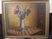 Rodney Lethbridg Antique Authenticoil Ireses in a Vase with Southern setting