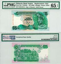 Malaysia $5 P#28a* (1986) **NZ Prefix** Replacement Banknote PMG 65 EPQ