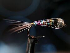3 perdigones arcoiris , cabeza tungsteno plata pesca a mosca