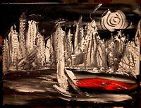 Cityscape SUN  painting Mark Kazav Original Painting no reserve STRETCHED NR
