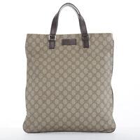 9a5ec58b91b5 GUCCI brown GG monogram PVC dark brown leather top handle rectangular tote  bag