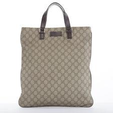 669c7d92e58 GUCCI brown GG monogram PVC dark brown leather top handle rectangular tote  bag