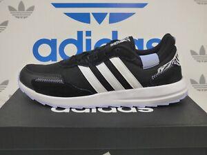 NEW ADIDAS RetroRun Women's Running Shoes, color Black/White; GZ5355