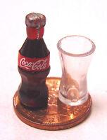 1:12 Small Coke Bottle & Glass Dolls House Miniature Pub Bar Cafe Shop Drink L13