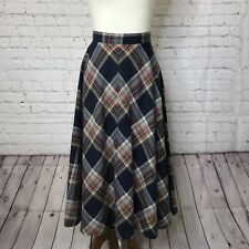 Vintage College Town Women Skirt Wool Navy Red Cream Plaid Tartan Size ? Ag17