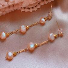 Natural Pearl gold Earrings eardrop 18KGP Chain girl Gift FOOL'S DAY
