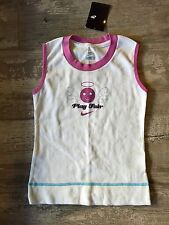 Nike Muscle shirt smiley w wings and halo horns play Fair hard pink white Small