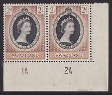 SWAZILAND 1953 Coronation plate pair MNH....................................3282