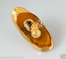 Yves Saint Laurent YSL arty gemstone chyc agate and crystal ring size 5 1/2