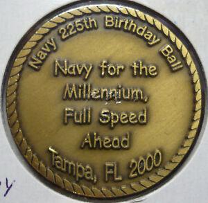 "Challenge Coin US Navy 225th Birthday Ball Tampa FL 2000 MillenniumUSN 1.58"" 199"