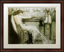 Le Cocktail by Louis Icart. Lady with Two Dogs. Fine Art Poster in Walnut Frame