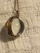 Victorian. Pool Of Light Rock Crystal Locket  Set In Gold On Gold Chain