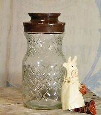 Vtg/Anchor Hocking/Tang/Coffee Jar/Clear Glass/Canister/Container/Brown Lid