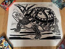 RARE Artist Proof Print Linocut Linoleum Signed Apprehensive Turtle in the Pond